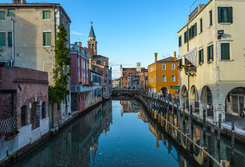 Canal at the old town of Chioggia - Italy.