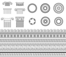 Greek Ethnic collection traditional meander borders, frames and columns