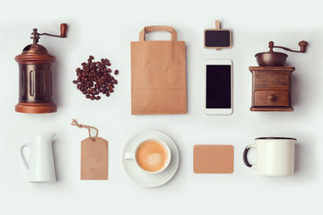 Coffee shop mock up template for branding identity design. View from above. Flat lay