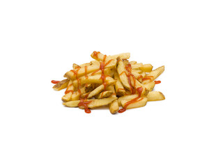 a pile of french fries with ketchup