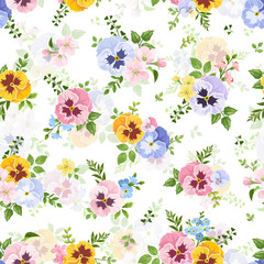 Vector seamless pattern with colorful pansy, forget-me-not and apple flowers on a white background.