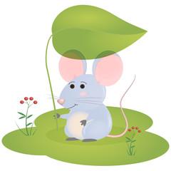 little cartoon mouse sets under the green leaf