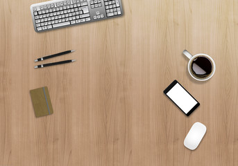 Office desk business mock up. Wooden background