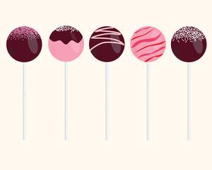 Cake Pops Vector Illustrations Set
