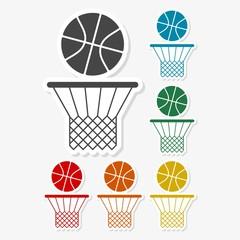 Multicolored paper stickers - Basketball icon