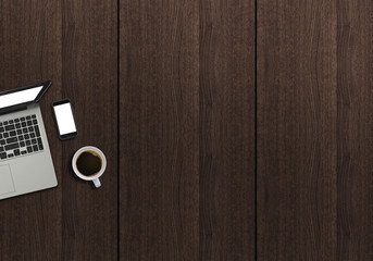 Office desk top view hero mock up image with laptop, coffee and smartphone. Wooden background