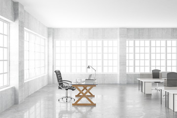 Boss workplace with desktop in open space office, 3D Rendering