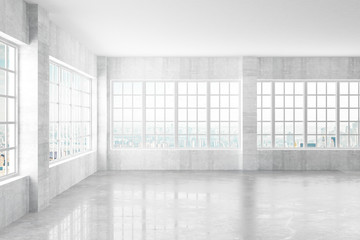 Empty light concrete interior with windows and city view, 3D Ren