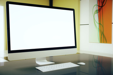 Beige interior white screen