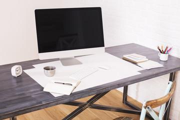 Wooden desktop with computer