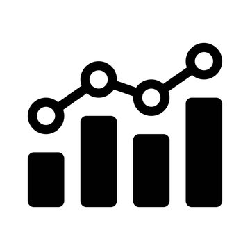 Financial earnings analytics graph or chart flat icon for apps and websites