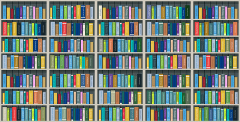 Colorful books on the shelves stacked with shadows.