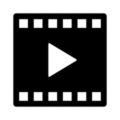 Video or movie clip play flat icon for apps and websites