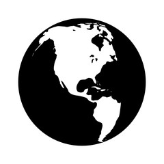 World map globe or planet earth with North America flat icon for apps and websites