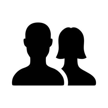 Male and female relationship couple flat icon for apps and websites