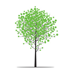 Shape of black Tree and Green Leafes. Vector Illustration.