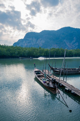 long tail boat , Port of mangrove forest in the countryside