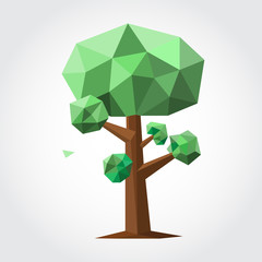 Low poly tree with green leaf and brown trunk. Isolated on white backdrop. Vector illustration.