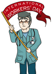 Doctor Celebrating Workers' Day with a Long Flag, Vector Illustration