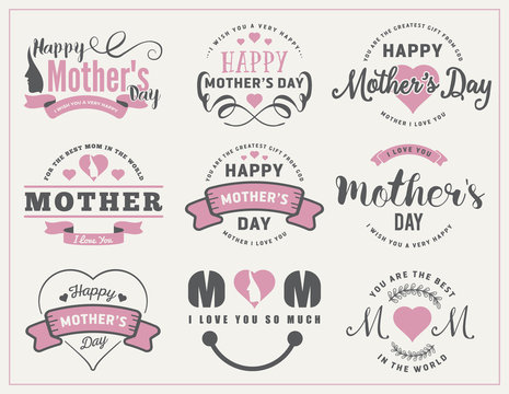Beautiful Mother's Day Badges and Labels Design for decoration, sticker, gift tags, web banner and other design.
