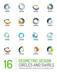 Geometric abstract circles and swirls icon set
