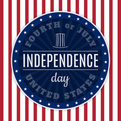 Vintage design for fourth of July Independence Day USA. Designed in traditional american flag colors and retro elements.