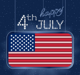Design for fourth of July Independence Day USA. A neon American flag inside of shining retro light banner. Realistic
