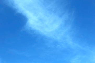 bright blue skies and fluffy white clouds