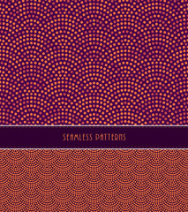 2 fish scales Japanese style seamless patterns, in orange and purple