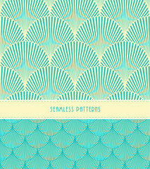 2 feathers or fish scales Japanese style seamless patterns, in ivory and blue