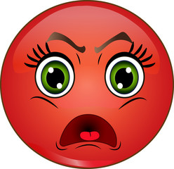 Angry red smiley emoticon. Vector stock