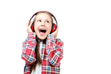 Portrait of young girl with headphones isolated on a white