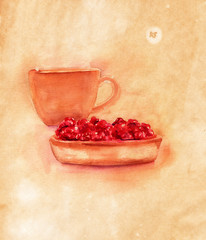Coffee with strawberry tart, watercolor drawing on old paper