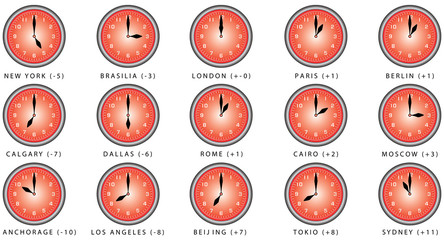 Clocks with time zone. Clocks Time Zones. World clock, time difference in major cities. Wall clock for every hours, to indicate world international time zone