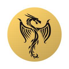 Golden dragon fly vector illustration.