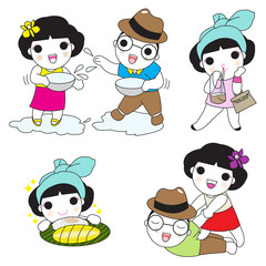 Thai Character Expressions illustration