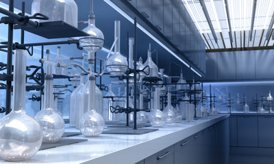 Glass tools in a Laboratory - 3D Rendering