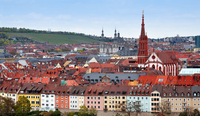 Panorama of the Wurzburg old town, Bavaria, Germany. Quay with houses and church.