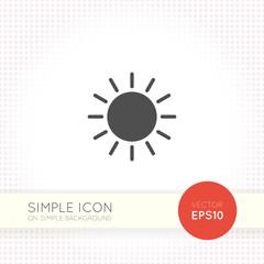 Sun minimal flat icon on simple background