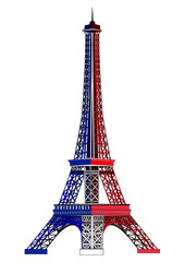 The Eiffel tower, painted in colors of the national flag of France. Vector illustration. Isolated on white