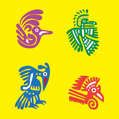 Vector set of Mexican design elements, ethnic symbols of the May
