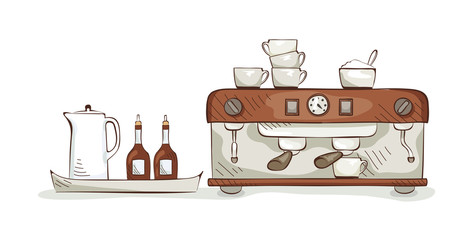 Equipment and dishes for coffee, vector illustration
