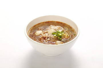 spicy noodle with meat ball on white background, Thai Food
