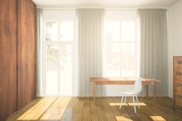 Interior with wooden wardrobe