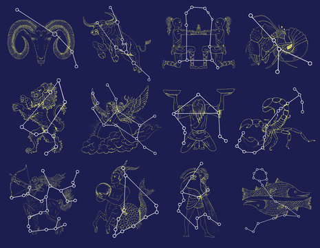 Collection with Zodiac symbols and constellations on blue