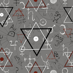 Seamless background with pentagram and mystic signs