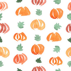 Seamless pattern with  ripe and green pumpkins and leaves in watercolors.