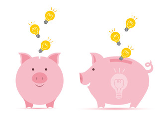 Pink piggy bank with  falling idea bulb in two perspectives. Symbol of idea saving. Talent and success. Save creativity and time.