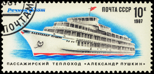 Russian passenger ship Aleksandr Pushkin on postage stamp