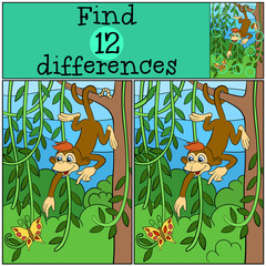 Children games: Find differences. Little cute monkey hangs on the tree and looks at the butterfly.